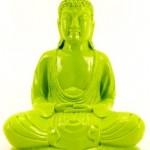20cm Buddha Figur Kunst Stein Neon Grün Glänzende Farbe Feng Shui Garten Wetterfest NEO22