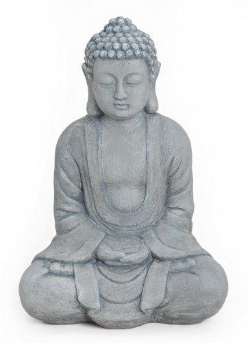 Deko Figur Buddha Figur Amitabha sitzend, Statur in Stein Optik aus ...