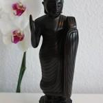 Holz Buddha Skulptur handgeschnitzt Statue, Figur, Skulptur schwarz 25 cm