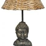 Clayre & Eef 6LMC0001 Tischlampe Stehlampe komplett Buddha Lampenschirm Rattan ca. 24 x 24 x 48 cm E27 Max. 60W