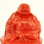 8cm Happy Buddha Figur Kunst Stein Neon Rot Glänzende Farbe Deko Feng Shui Garten Wetterfest Glücksbringer NE015