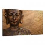 Bilder auf Leinwand Buddha 120 x 80 cm Modell-Nr. XXL 5041 Bild fertig gerahmt auf echtem Holzrahmen riesig. Ausführung Kunstdruck als Wandbild auf Rahmen. Günstiger als Ölbild Gemälde Poster Plakat mit Bilderrahmen.