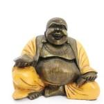 12cm Happy Buddha Figur Kunst Stein Antik Look China Glücksbringer Dekoration Deko Feng Shui Garten B21