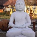 Großer Buddha Steinfigur Steinguss + inkl. original Pflegeanleitung von Steinfiguren Welt