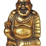 Deko Figur Happy Buddha sitzend aus Soar Holz goldfarbend, Höhe 40 cm, Statue lachender Mönch Holzfigur asiatische Gottheit handgefertigt