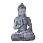 Buddha B4002 Bronze oder Steingrau , für Innen und Außen, Buddha Figur XL 56 cm hoch , Buddha Statue groß, Büste, Gartendekoration, Wetterfest aus Kunststein (Polyresin) sehr aufwendig per Hand bemalt, sehr feine Strukturen (Steingrau)