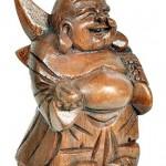 Deko Figur Happy Buddha stehend aus Soar Holz, Höhe ca. 12 cm, Holzfigur Statue lachender Mönch Glücksbuddha Budai asiatische Gottheit handgefertigt