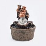 Zimmerbrunnen mit Buddha und drehender Glaskugel, Höhe 19 cm