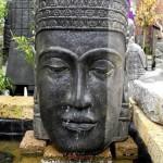 Wasserspiel Khmer Kopf, 85cm hoch, Hohlguss