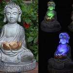Solarleuchte Buddha im Farbwechselmodus Solarlampe Gartenlampe