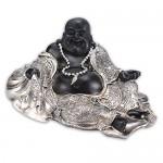 Liegender Lucky Buddha lachend silber-schwarz